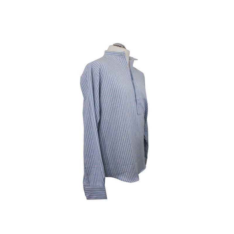 irisches stehkragenhemd wei blau gestreift. Black Bedroom Furniture Sets. Home Design Ideas