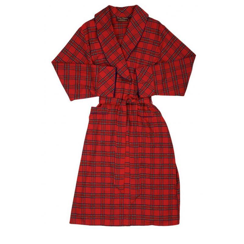 irischer bademantel morgenmantel red tartan lee valley. Black Bedroom Furniture Sets. Home Design Ideas