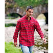 Stehkragenhemd / Grandfather Shirt - Red Tartan
