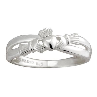 Ladies Claddagh Ring curved sterling silver