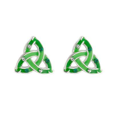 Ear studs celtic knot design green