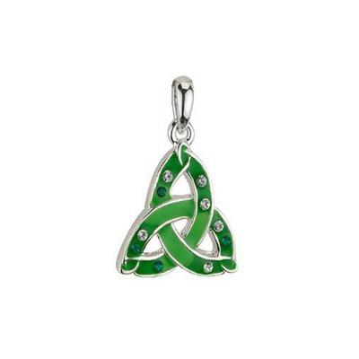 Green pendant Celtic knot with white stones