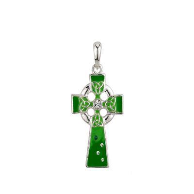 Pendant Celtic cross, green with stones