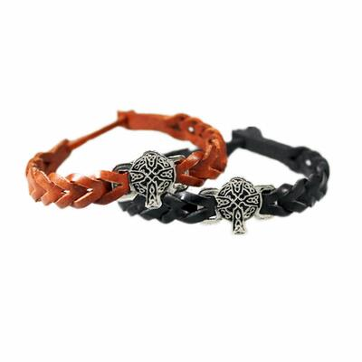 Irish leather bracelet with Celtic cross