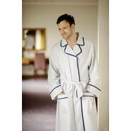 Bathrobe - white with blue and red stripes