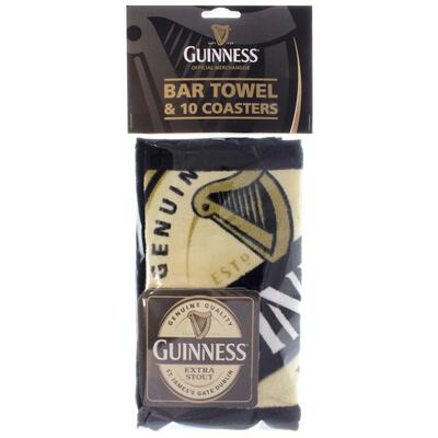 Guinness bar towel with coasters