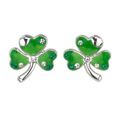 Grüne Ohrringe Kleeblatt mit Steinchen