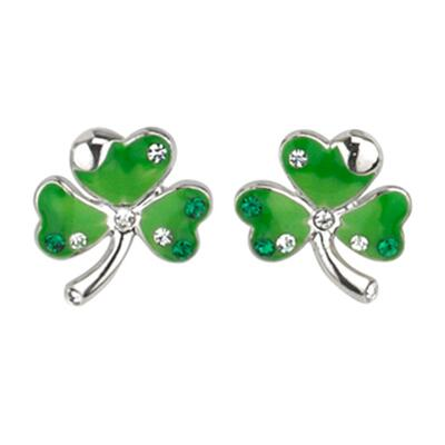 Green earrings shamrock with green & white stones
