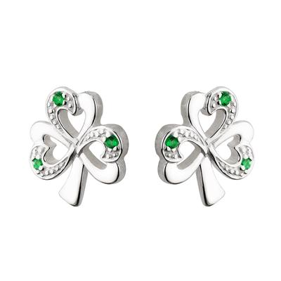 Stud earrings shamrock with green stones