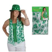 Scarf, white with green shamrocks