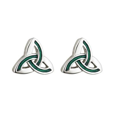 Ear studs Celtic Knot Sterling Silber & Green Pattern