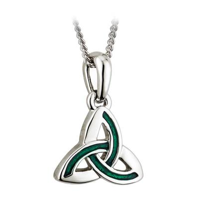 Pendant Celtic knot design with green inlay