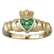 Damen Claddagh Ring Gold mit grünem Stein