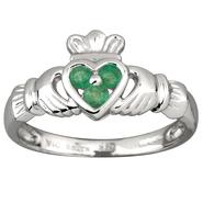 Ladies Claddagh Ring in white gold with green stones