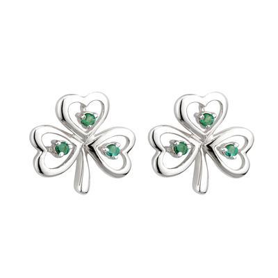Ohrstecker Kleeblatt mit grünen Diamanten