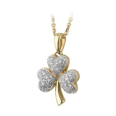Shamrock pendant, gold and diamonds