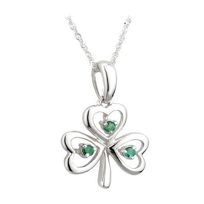Anhänger Kleeblatt Weißgold mit grünen Diamanten