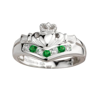 Claddagh Ring sterling silver with green and white stones