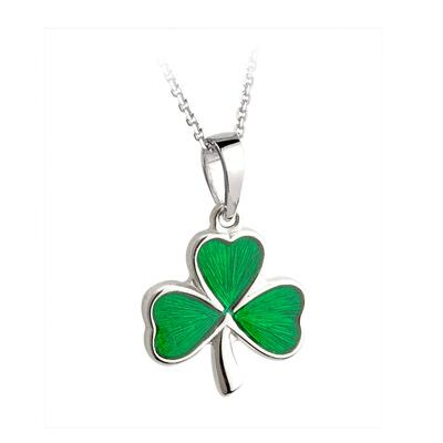 Pendant shamrock with green stone