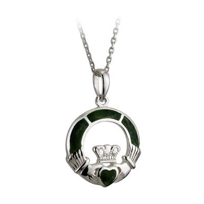 Pendant Claddagh of sterling silver and Connemara marble