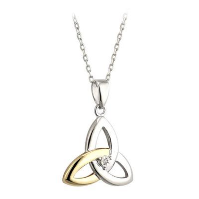 Pendant Celtic knot design in silver, gold and diamond
