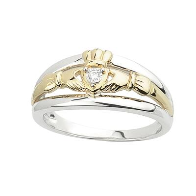 Claddagh ring in sterling silver, gold with diamonds