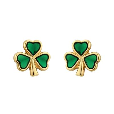Studs shamrock gold plated with green stone