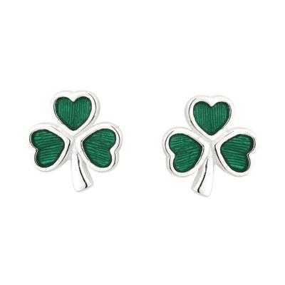 Stud earrings shamrock with green inlay