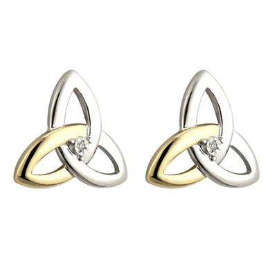Earrings Celtic knot gold, silver and diamonds