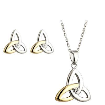 Set Ohrringe und Anhänger Keltisches Knotenmuster Gold & Silber