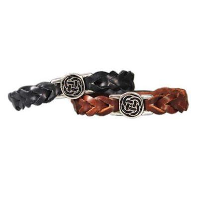 Irish leather bracelet with rounded celtic knot