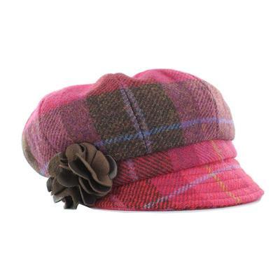 Newsboy Cap, pink checkered