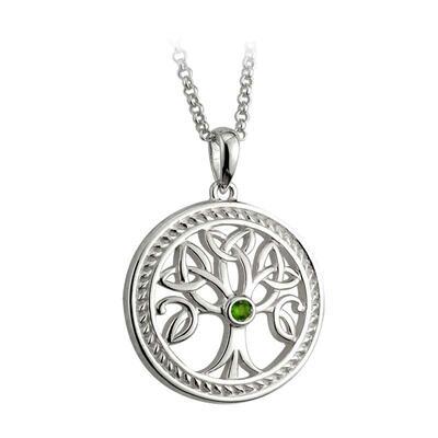 Keltischer Anhänger, Tree of Life mit grünem Stein