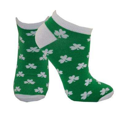 Sneaker socks with shamrock motif