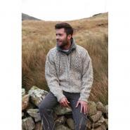 Mens knitted sweater, mottled beige