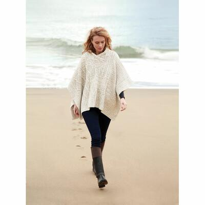 Ladies poncho from Ireland, wool white