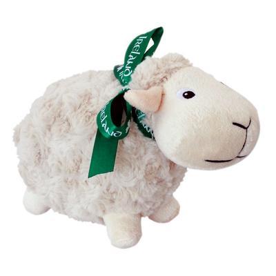 Irish white sheep with green bow