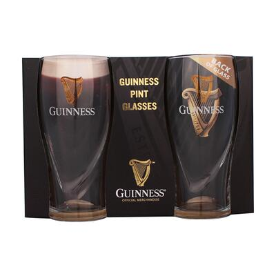 Guinness Glasses Set with Relief 0,568l, Original Pint Size