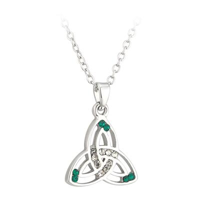 Pendant Celtic knot design with green and white stones