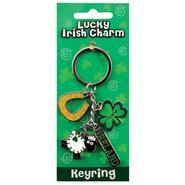 Lucky Irish Charm key ring shamrock motif, sheep, horseshoe