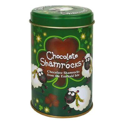 Shamrock motif chocolate in funny tin
