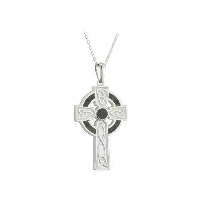 Anhänger keltisches Kreuz mit irischem Marmor