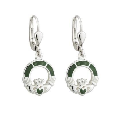 Earrings Claddagh Sterling Silver Connemara Marble