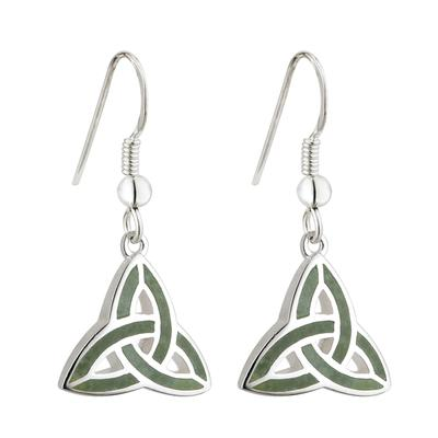 Earrings Celtic knot design with Irish marble