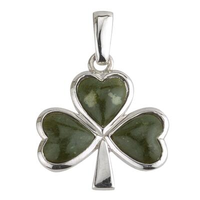 Shamrock, Sterling Silver and Connemara Marble Pendant