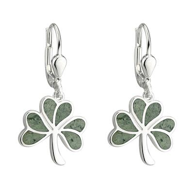 Earrings shamrock, sterling silver and Connemara marble