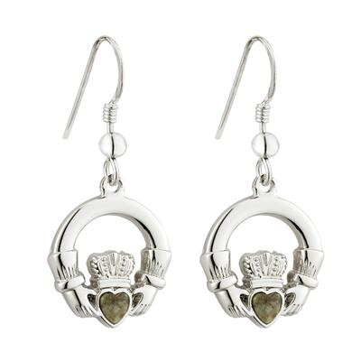 Claddagh Earrings with green Connemara Marble