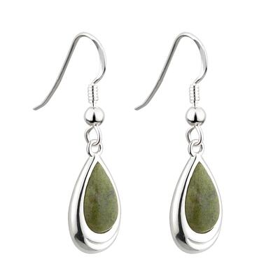 Drop shaped earrings with Connemara marble