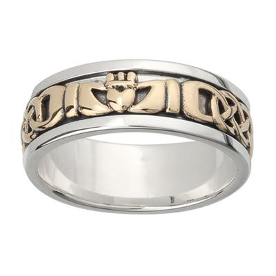 Herren Claddagh Ring aus Sterling Silber, 10K Gold