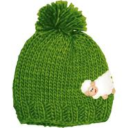 Children knit cap, green with sheep